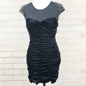 Bebe Black Velvet Bodycon Mini Dress Rhinestones